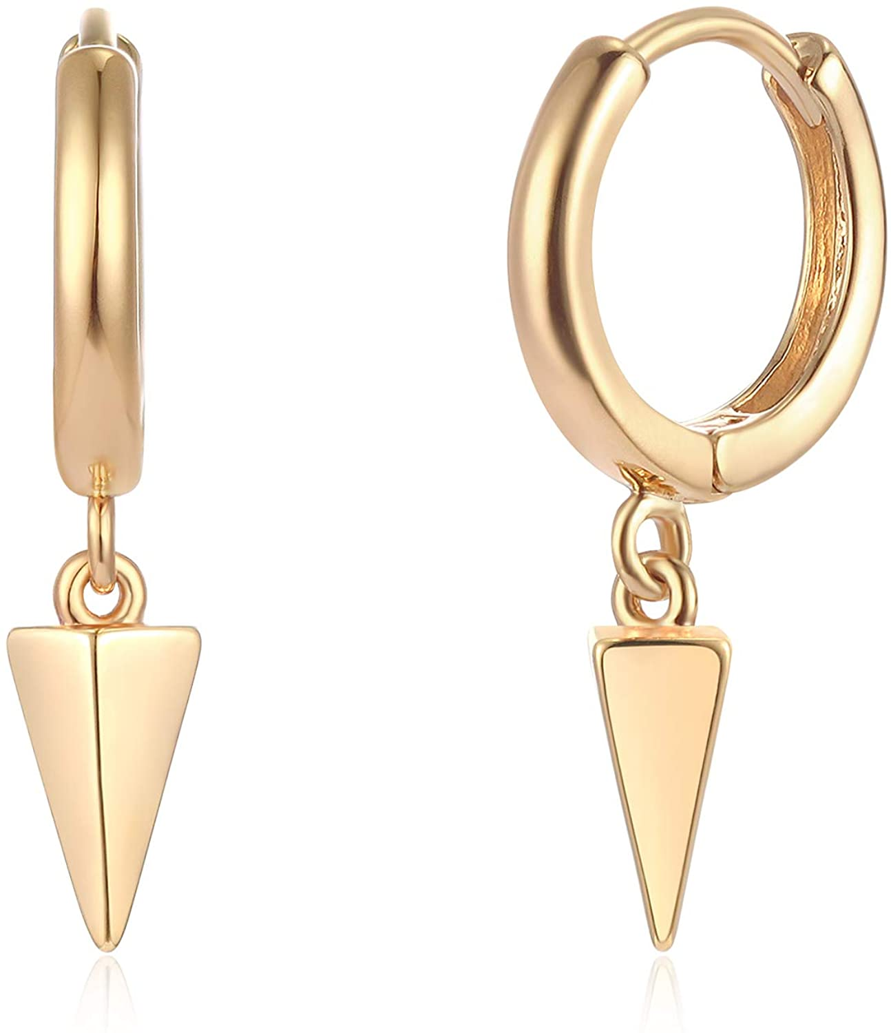 Mevecco Gold Dainty Dangle Hoop Earrings for Women 14K Gold Plated Delicate cute Geometric Triangle Cone Dangle Earrings