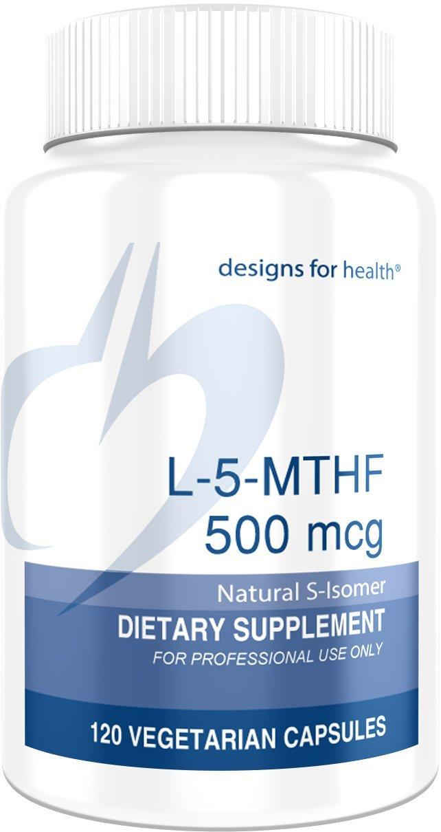 Designs for Health L-5-MTHF 500 Micrograms - Quatrefolic, Active B9 Methylfolate (120 Capsules)