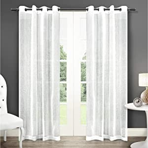 Exclusive Home Curtains Sabrina Sheer Window Curtain Panel Pair with Grommet Top, 50x108, Winter White, 2 Piece