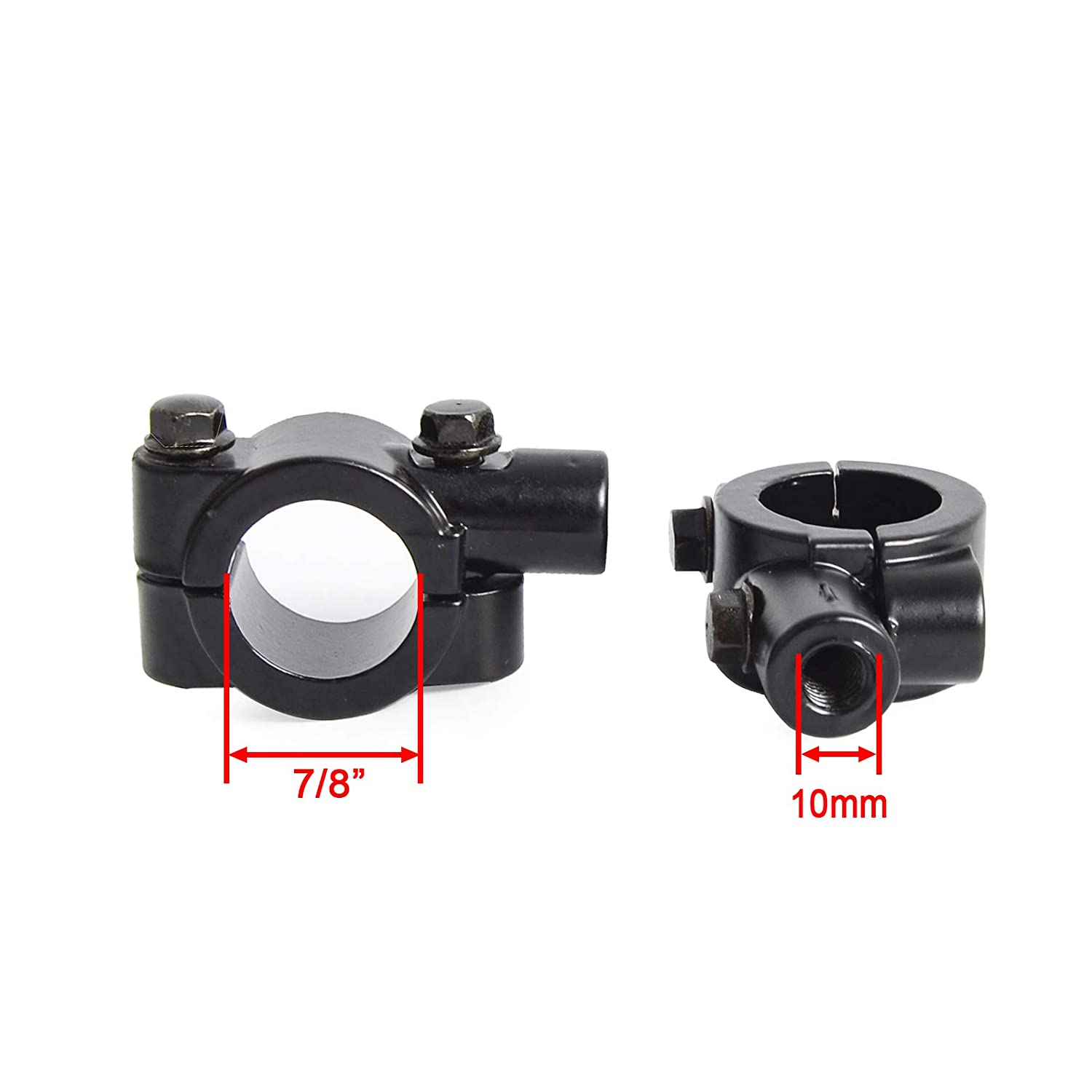 """Heart Horse Universal 10 mm Motorcycle Mirror Thread Mount Bracket Holder Compatible with Rear View Side Mirror 7//8/"""" 22mm Handlebar Clamp Adaptor Black pair"""