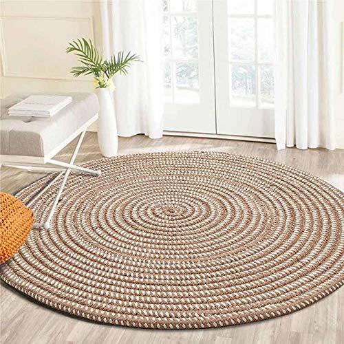 - MLADEN Braided Round Area Rug,Natural Fibre Floor Decor Mat Cushion, Non-Slip Door Mat (2', Light Camel)