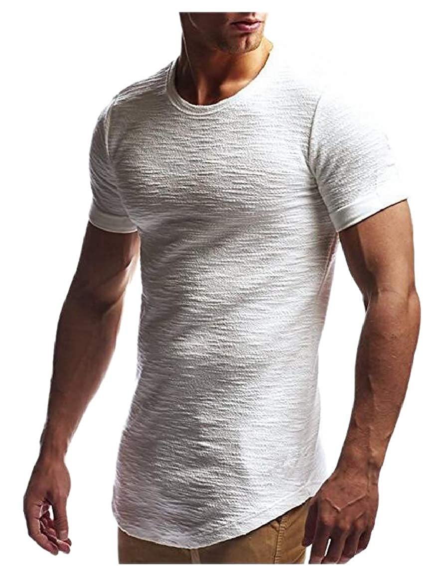 HTOOHTOOH Mens Irregular Crew Neck Curved-Hem Top Short-Sleeve T-Shirt