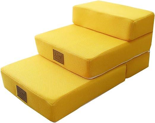 Escalera de Mascota Escaleras de 3 peldaños para Cama y sofá, rampa para Mascotas para Perros pequeños y Gatos | Cubierta Lavable a máquina, Parte Inferior Antideslizante (Color : Yellow): Amazon.es: Hogar
