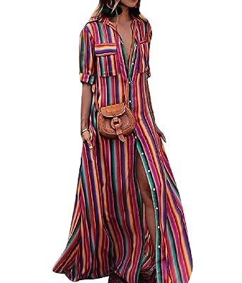 149d6d821e58 Comaba Women Boho Stripes Floral Tribal Full Length Garden Party Dress AS1  XS