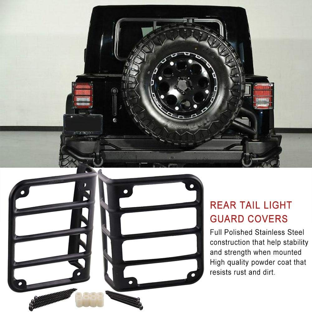 Beaviety Guardia Ligera Cubiertas de luz de Cola para Jeep Wrangler JK Unlimited 07-18