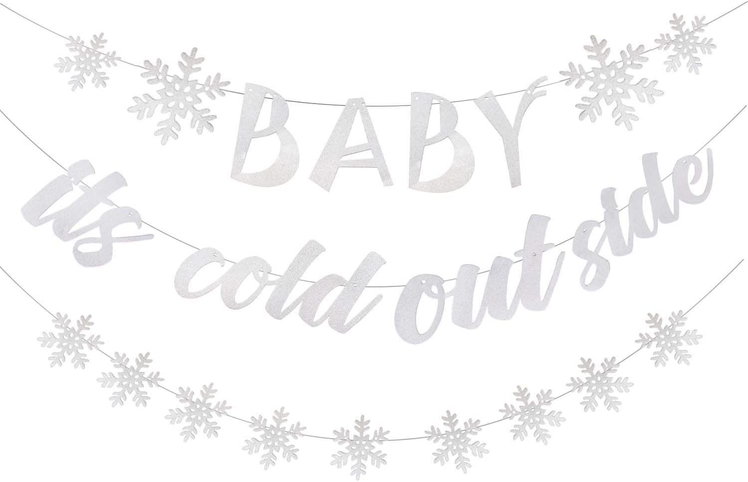 3 Pack Silver Glittery Baby It's Cold Outside Winter Snowflake Banner Garland - Winter Christmas Holiday Theme Party Decoration for Baby Shower Kids Birthday Party Decor Fireplace Wall Decorations
