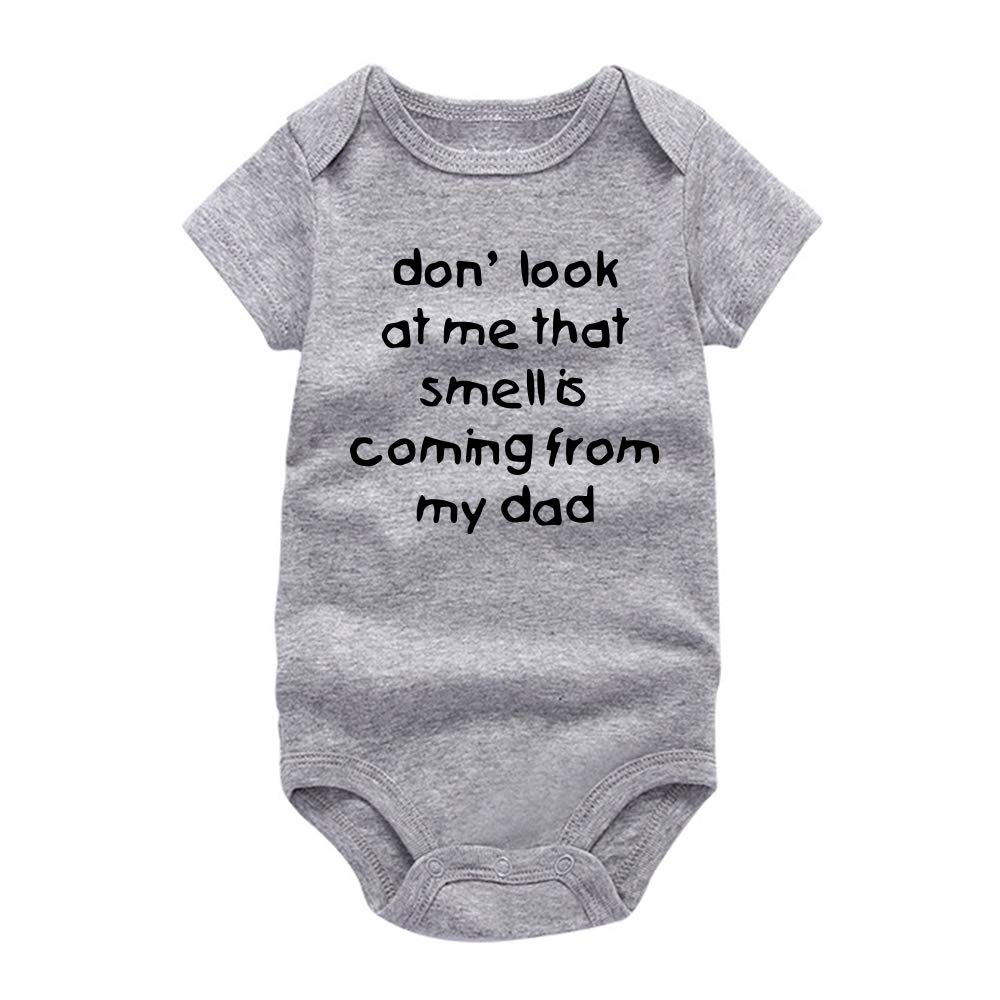 Rocksir Don't Look at me Funny Slogan Super Soft Cotton Baby Onesies Comfy Short Sleeve Bodysuit(9m Grey dad1)