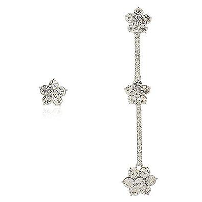 26fb5afc3 Long Floral Drop & Stud Earrings Asymmetric Style. Swarovski Crystal  Elements. Single earring and