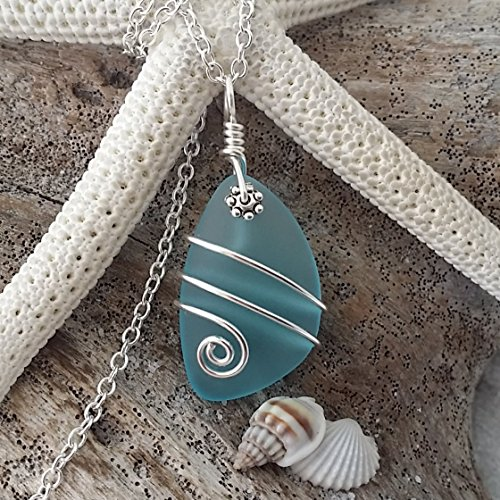 Glass Wire Wrapped Pendant (Handmade in Hawaii, wire wrapped turquoise bay blue sea glass necklace, sterling silver chain, Hawaiian Gift, FREE gift wrap, FREE gift message, FREE shipping)