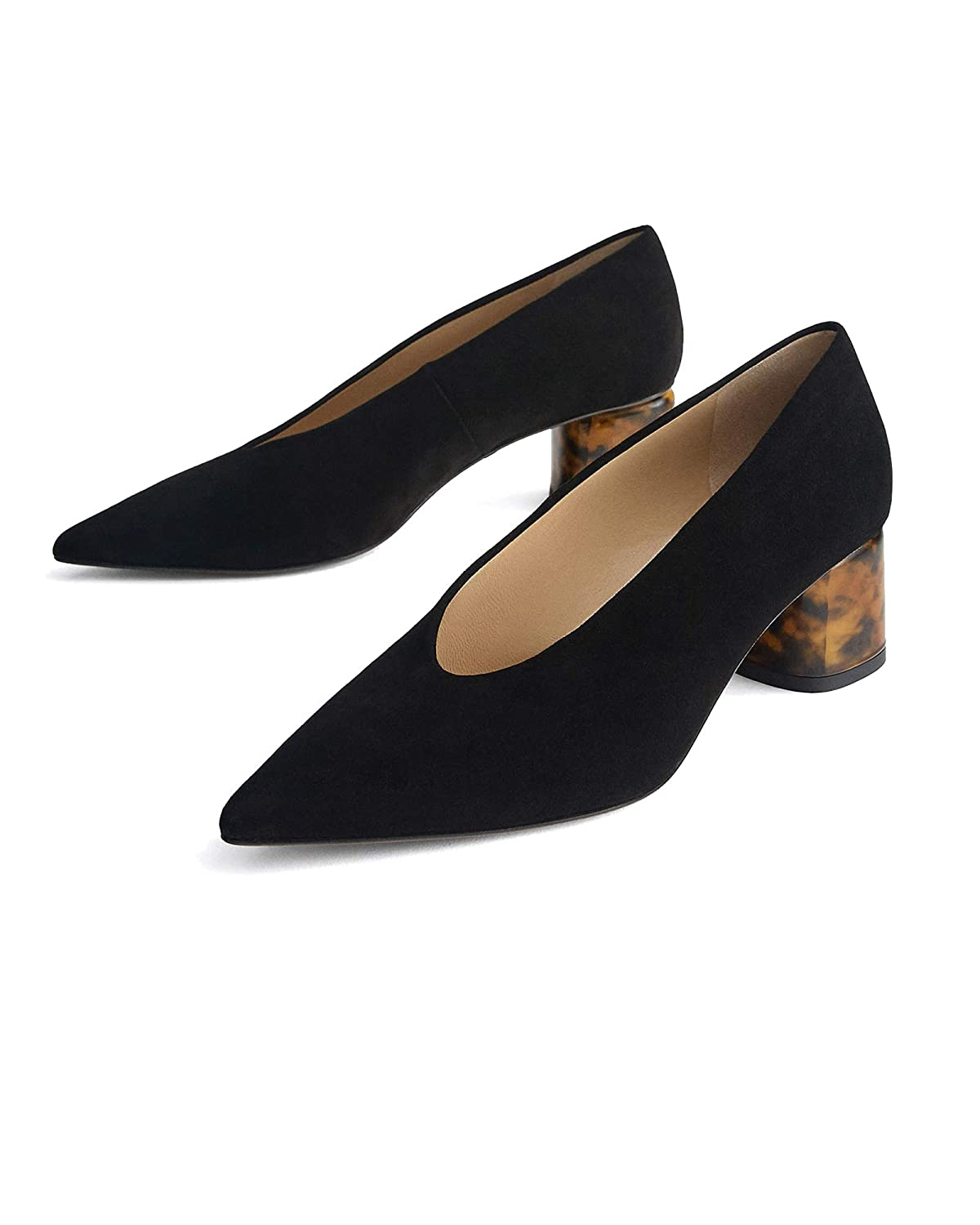 bafed8fb93a19 Uterque Women's Suede Court Shoes with Tortoiseshell Heels 4122/051 ...