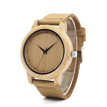 Herren Natur Holz Bambus Uhren Damen Vintage Bambus Armbanduhr Mit