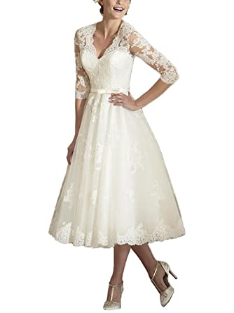 Dressyu Vintage Tea Length V Neck 3/4 Sleeve Wedding Dresses with Lace Appliques Ivory