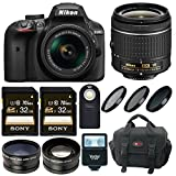 Nikon D3400 DSLR Camera with AF-P DX 18-55 Lens and 64GB Kit + Flash + Filters + Wide Angle Lens and Telephoto Lens + SLR Bag + Remote + Bundle
