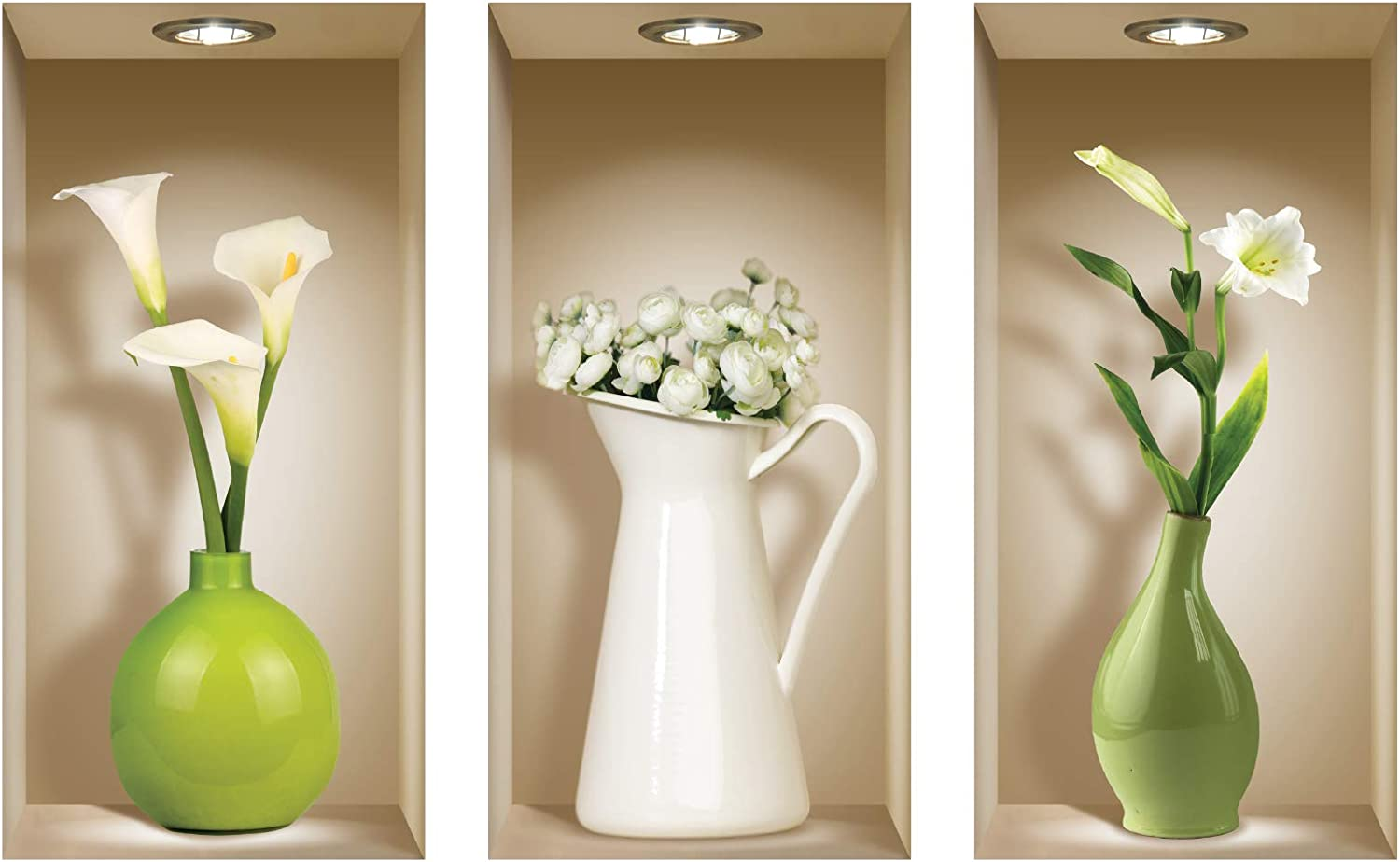 the Nisha Art Magic 3D Vinyl Removable Wall Sticker Decals DIY, Set of 3, Green and White Vases