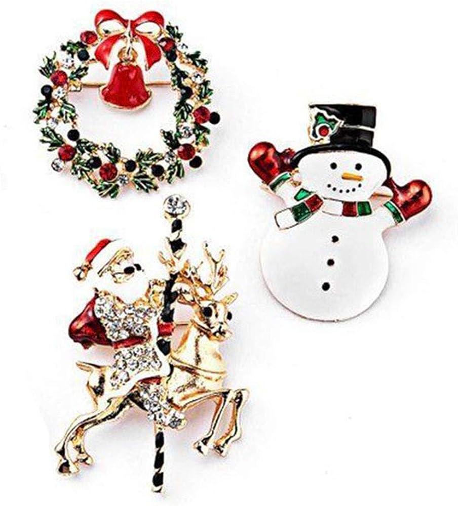 ISKYBOB 3 Pieces Christmas Enamel Brooches Pins Set Snowman Garland Santa Rhinestone Pin Girls Holiday Jewelry Gift