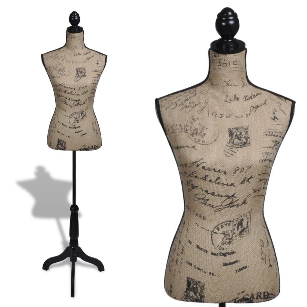 vidaXL Lady Mannequin Bust Window Torso Dress Form Display Black/Brown w/Tripod Stand
