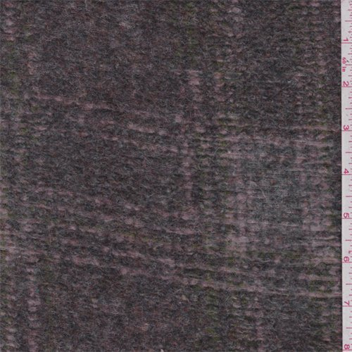 Grey/Pink/Green Plaid Boiled Wool Knit, Fabric by The Yard -