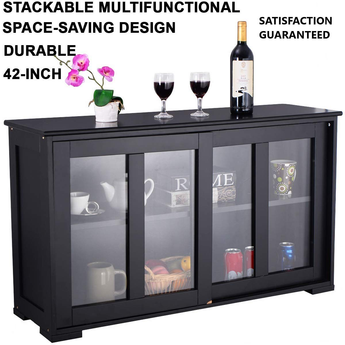 WINMART Stackable Multifunctional Buffet Storage Cabinet with Sliding Door Tempered-Glass Panels Stackable Sideboard, Antique Black (Black), 42 inch Kitchen Storage Cabinet