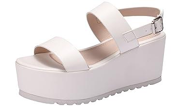 d50a3ef0465 Sofree Women s Platform Open Toe Ankle Strap Heeled Wedge Platform Sandal  (10