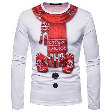 a434c1bd15254 AIMEE7 Pull Noël Homme T Shirt à Manches Longues Automne Hiver Impression  De Noël Tops Sport