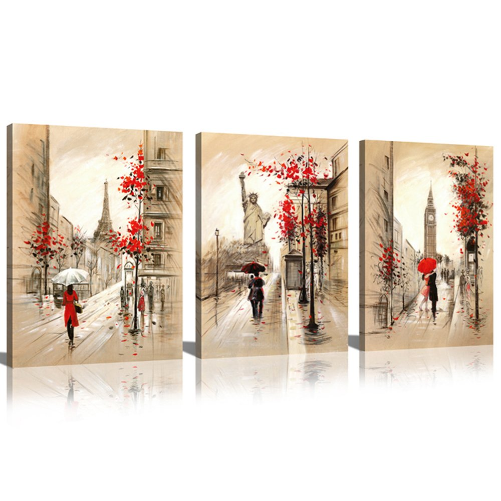 SUNRISE ART-Blue Street Oil Painting Picture Printed on Canvas Modern Wall Art for Home Decoration 12x16x3 HomeAndDecor