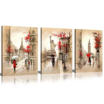 Sunrise Art-Canvas Prints Paris Street and Eiffel Tower Oil Painting Modern Wall Art for  sc 1 st  Amazon.com & Amazon.com: Sunrise Art-Canvas Prints Paris Street and Eiffel Tower ...