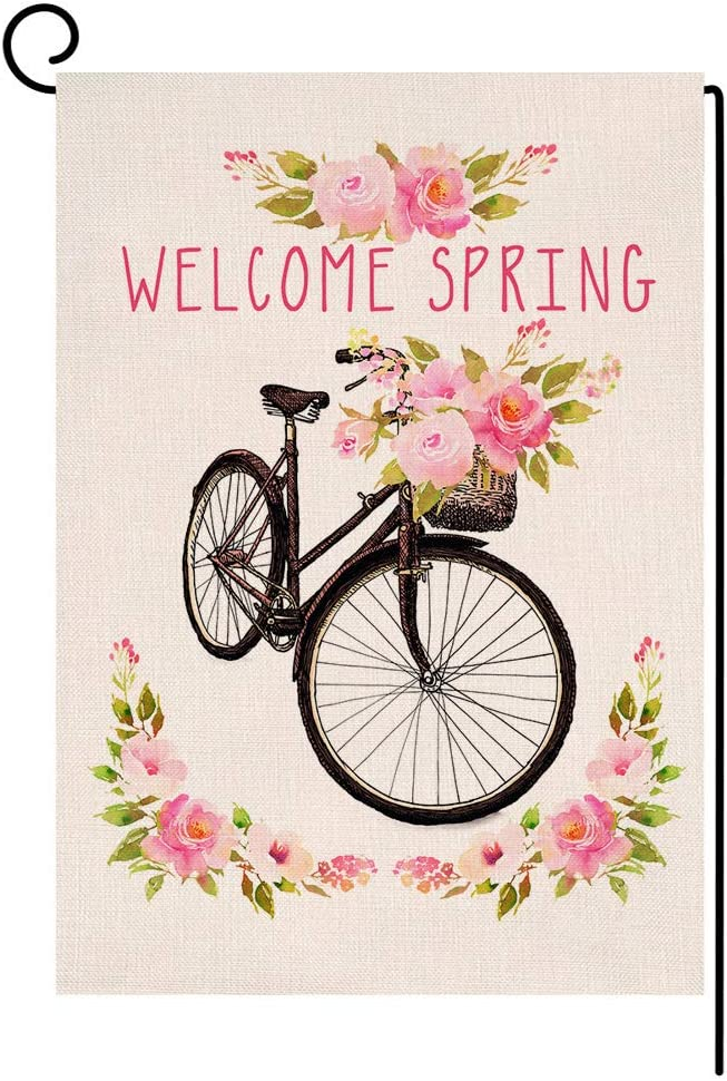 BLKWHT Welcome Spring Bicycle Small Garden Flag Vertical Double Sided Flower Blooms Burlap Yard Outdoor Decor 12.5 x 18 Inches (130898)