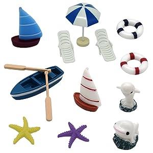Ewinsun Miniature Ornaments Kit Set for DIY Fairy Garden Bonsai Dollhouse Ocean Beach Decoration