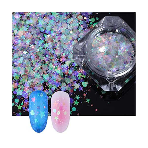 NICOLE DIARY 5 Boxes Holographic Nail Sequins Iridescent Flakes Colorful Glitter Manicure Nail Art Design Make Up DIY Decals Decoration 5