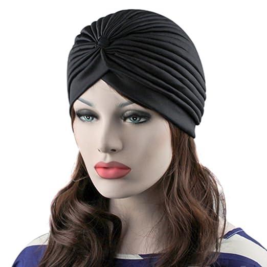 preliked Women s Stretchy Turban Head Wrap Band Chemo Bandana Hijab Pleated  Indian Cap (Black) 5ee560a0b12