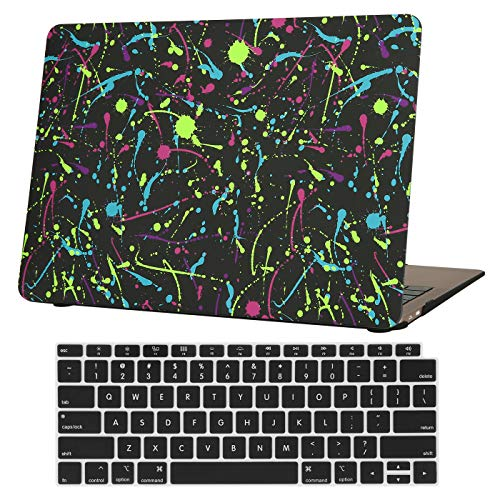 HDE MacBook Pro 13 Inch Case (2019 2018 2017 2016 Release) Rubberized Plastic Hard Shell Cover Keyboard Skin for Model A2159 A1989 A1706 A1708 Newest MacBook Pro 13 with w/o Touch Bar - Paint Splatter