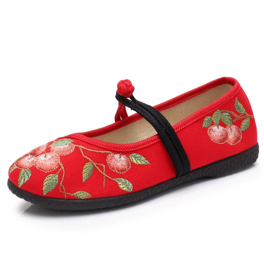 XHX Red Chaussures en Moyen Tissu Taille À La Mode des Femmes Chaussures Brodées Rétro Chaussures De Mariage Rouge Respirant Chaussures De Mère D âge Moyen (Couleur : Red, Taille : 35) Red 45c2d63 - gis9ma7le.space