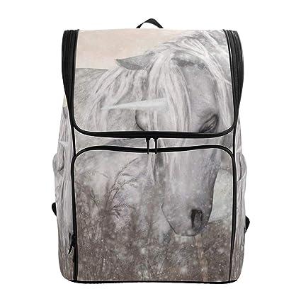 66b5e32abdd0 Amazon.com: Laptop Backpack Oil Painting Vintage White Unicorns ...