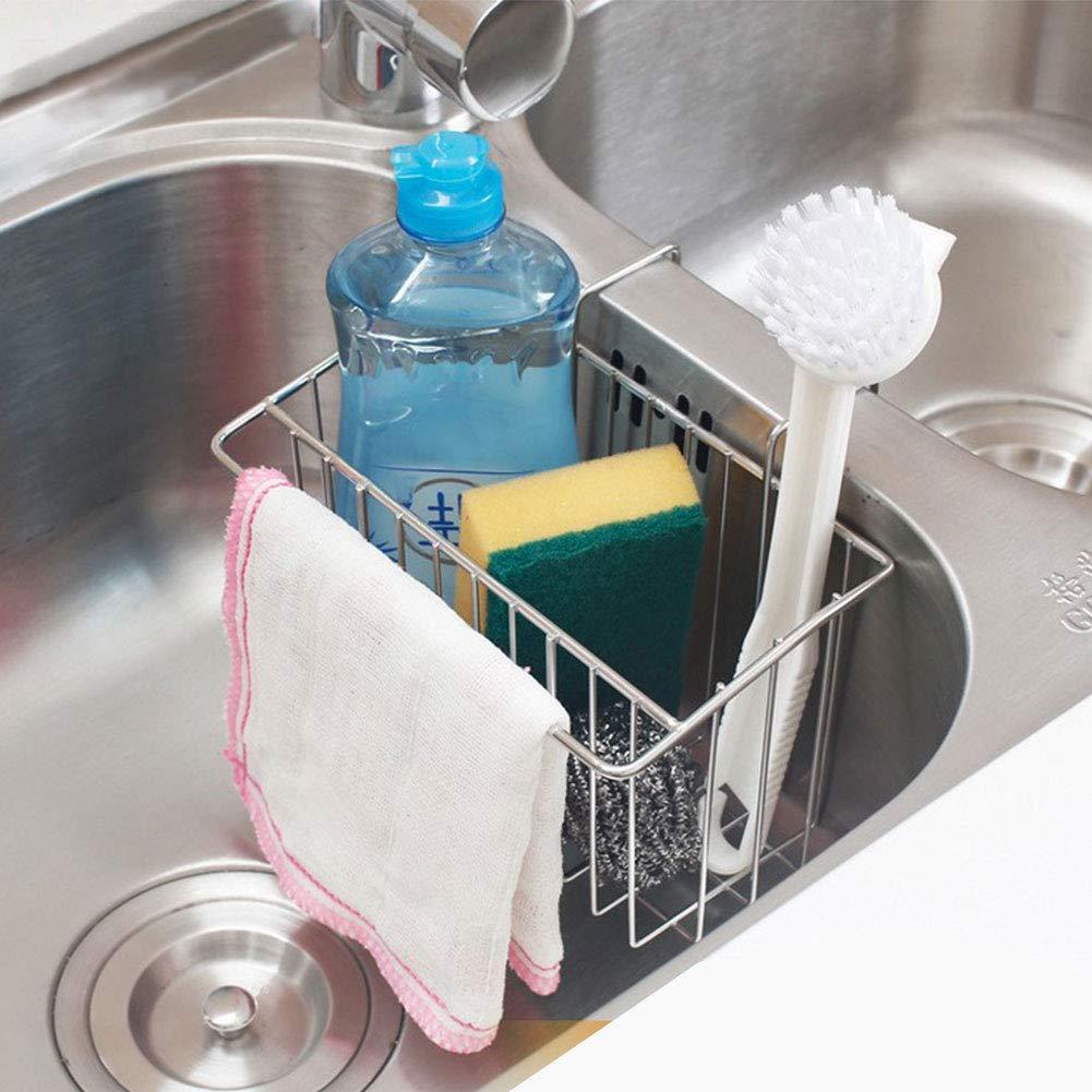 SZUAH Sink Sponge Holder, 18/8 Stainless Steel Sink Caddy Organizer, Liquid Drainer Rack for Sponge, Soap, Brush, Dishcloth, Rag.