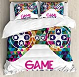 Boy's Room Queen Size Duvet Cover Set by Lunarable, Joystick Design with Geometric Elements Triangles Fractal Mosaic Form Game Mode, Decorative 3 Piece Bedding Set with 2 Pillow Shams, Multicolor