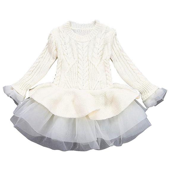 Bestow Las niñas de los niños de Punto suéter de Invierno Vestido de ...