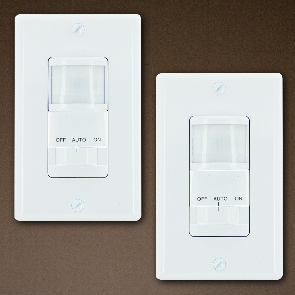 GE 2-Pack Motion Sensor On/Off Light Switch Timer, White