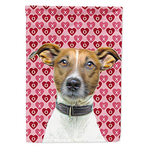 Caroline's Treasures KJ1190GF Hearts Love and Valentine's Day Jack Russell Terrier Flag, Small, Multicolor