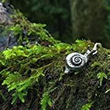 Enchanted Leaves - Large Forest Snail Necklace - Cute Silver Snail Charm Necklace