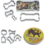 R & M International Best Selling Set of 4 Classic Dog Bone Cookie Cutters and Set of 5 Cutest Mini Dog Treat Cookie Cutters in Storage Tin Bundle