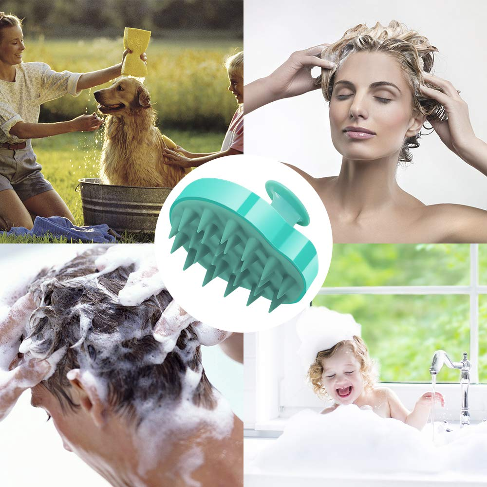 Wet Dry Hair Massager, STURME Shampoo Brush for People and Pets, Shampoo Scrubbing, Silicon Brush(Green)
