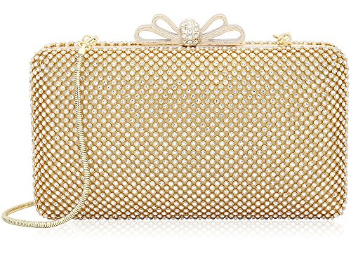 Dexmay Bling Rhinestone Crystal Clutch Purse Bow Evening Bag Jewelry Hard Case Handbags Bridesmaid Gold