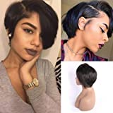 4X4 Lace Closure Wigs Human Hair Pixie Cut Wigs Short Bob Soft Straight Wigs for Black Woman Lace Front Wigs 150…