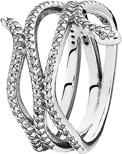 Pandora Sterling Silver Swirling Snake 8.5 - 9 mm Ring with Clear Cubic Zirconia - 190954CZ-58