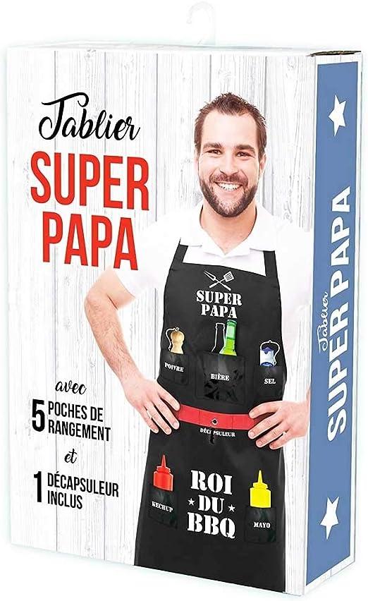 """Spezial-Grillsch/ürze mit franz/ösischer Aufschrift /""""Super Papa/""""/// /""""Roi du BBQ/"""" 5/Taschen inklusive Flaschen/öffner P2G NJ201 Schwarz"""