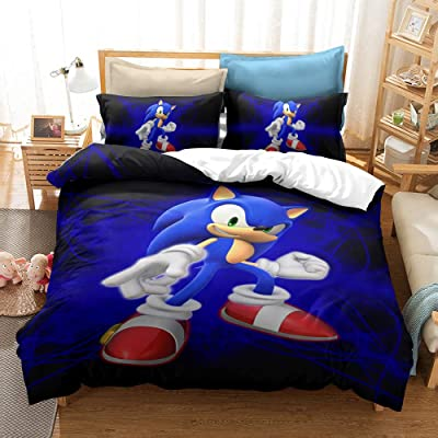 HEC 3D Sonic The Hedgehog Duvet Cover Printed Cartoon Bedding Sets Soft Microfiber Kids Teenagers Adult Boys Bed Set,2pcs 1 Duvet Cover 1 Pillowcas(No Comforter, Twin: Home & Kitchen