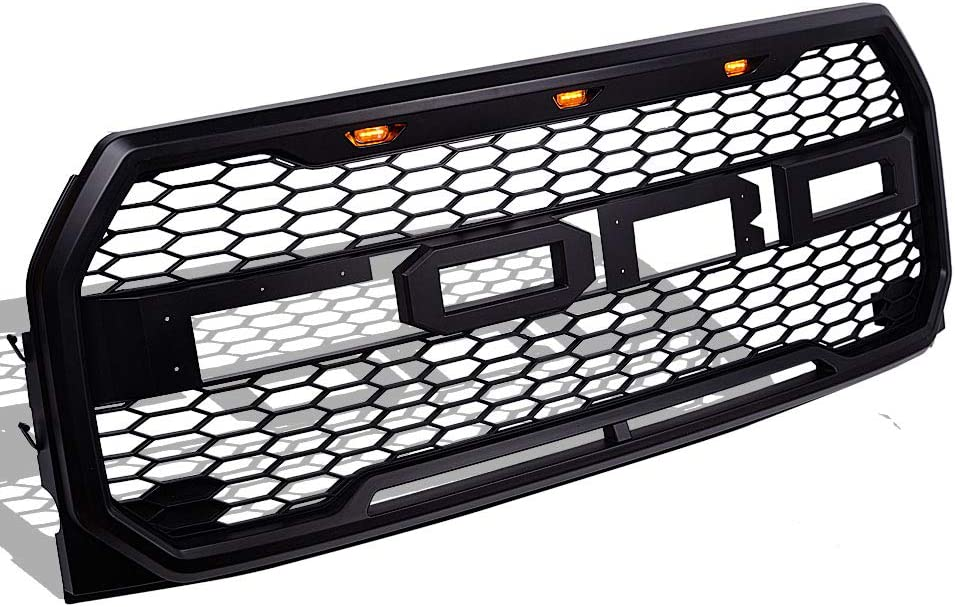 black Raptor Style Front Grill Fits for 2015 2016 2017 Ford F150 F-150 Front Grille with 3 Amber LED lights