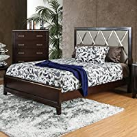 Furniture of America Derraugh Contemporary Diamond Tufted Padded Cherry Bed King