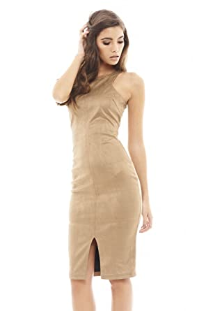 AX Paris Women s Faux Suede Bodycon Midi Dress at Amazon Women s ... bb7f21505