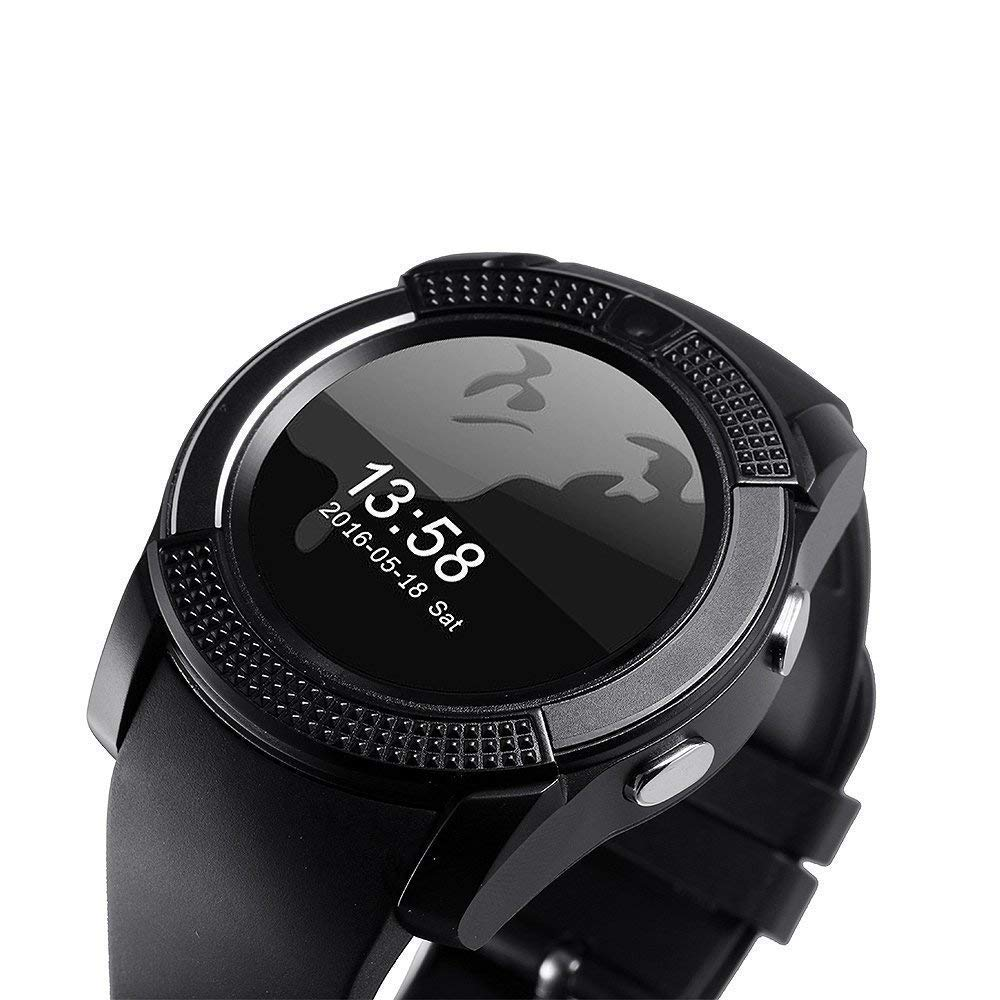Mobile Link V9 Bluetooth Smartwatch Touch Screen Stylish Watch with Health Monitor Display Speaker Mic Multi-Language with New Features of 2018